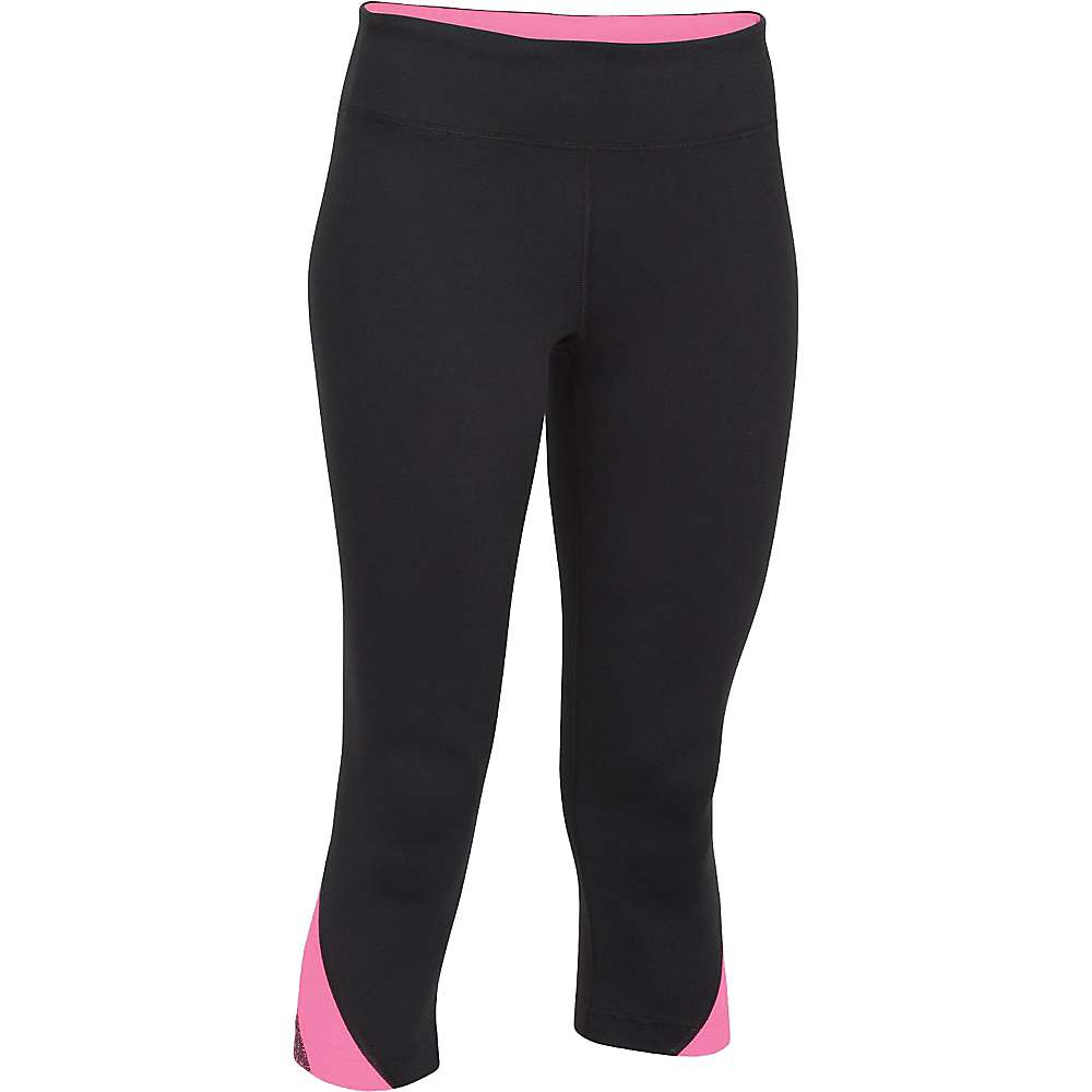 Under Armour Women's Power Up Capri - Medium - Black / Pink Punk / Metallic Silver