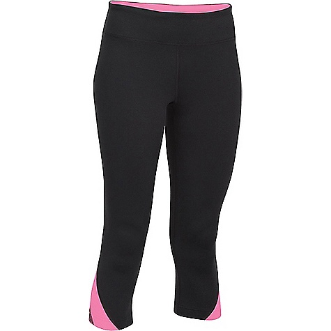 Under Armour Women's Power Up Capri Black / Pink Punk / Metallic Silver