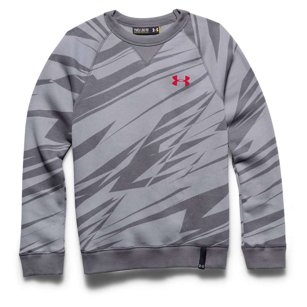 Under Armour Boys' Rival Cotton Crew Top - Large - Steel / Graphite / Risk Red