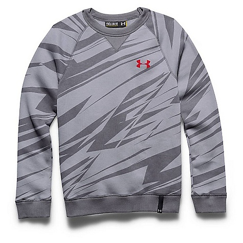 Under Armour Boys' Rival Cotton Crew Top Steel / Graphite / Risk Red