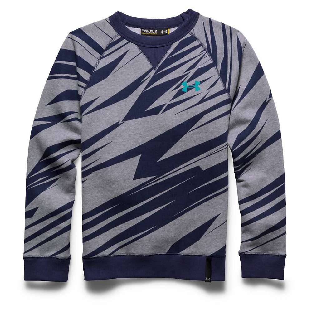Under Armour Boys' Rival Cotton Crew Top - XL - True Gray Heather / Blue Knight / Jade
