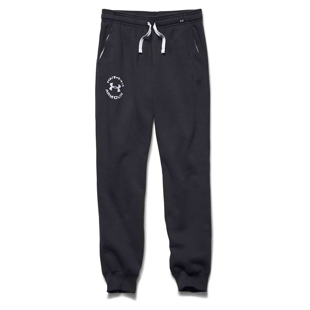 Under Armour Boys' Rival Cotton Cuffed Pant - XS - Black / White