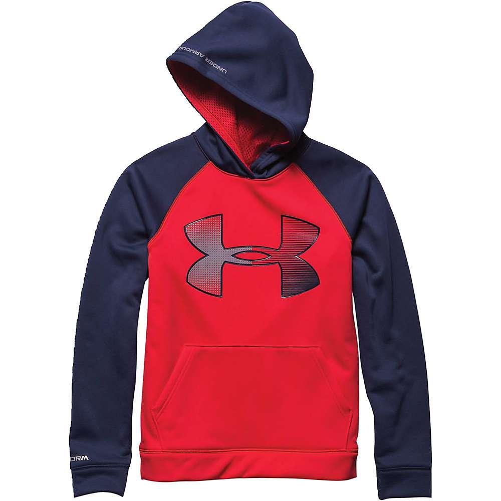 Under Armour Boys' Storm Armour Fleece Jumbo Big Logo Hoody - Small - Risk Red / Blue Knight / Steel