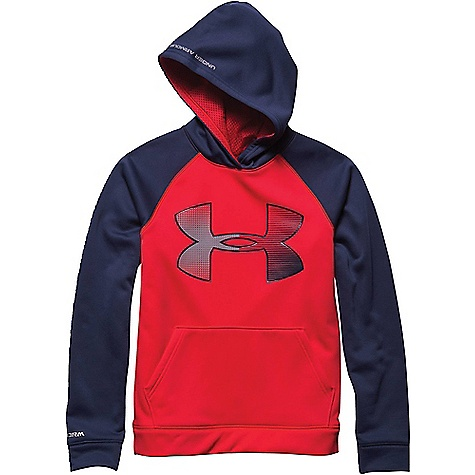 Under Armour Boys' Storm Armour Fleece Jumbo Big Logo Hoody Risk Red / Blue Knight / Steel