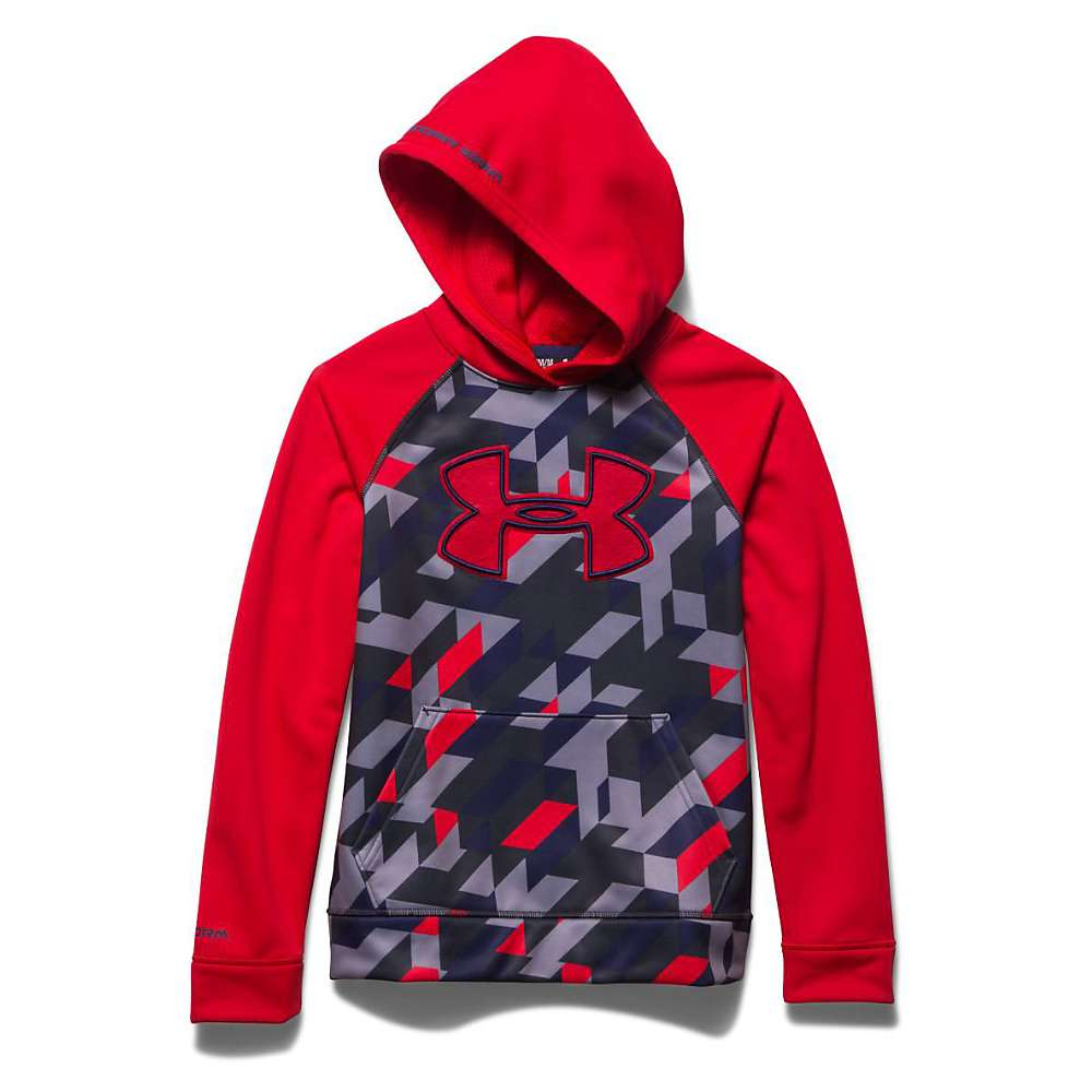 Under Armour Boys' Storm Armour Fleece Printed Big Logo Hoody - XS - Risk Red / Anthracite / Risk Red