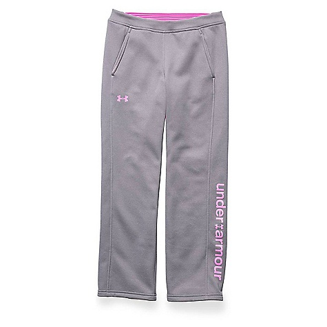 Under Armour Girls' Storm Armour Fleece Pant True Gray Heather / Rebel Pink