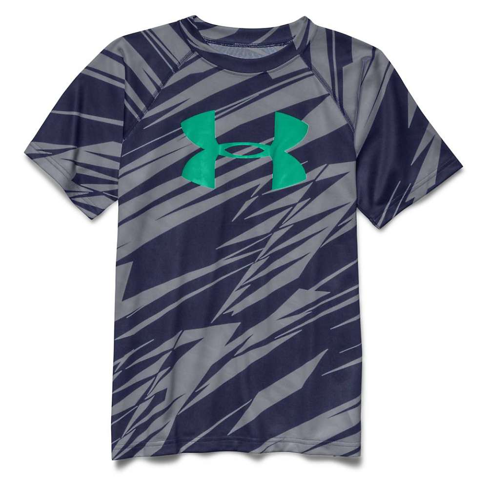 Under Armour Boys' Tech Big Logo Printed SS Tee - Small - Steel / Blue Knight / Jade