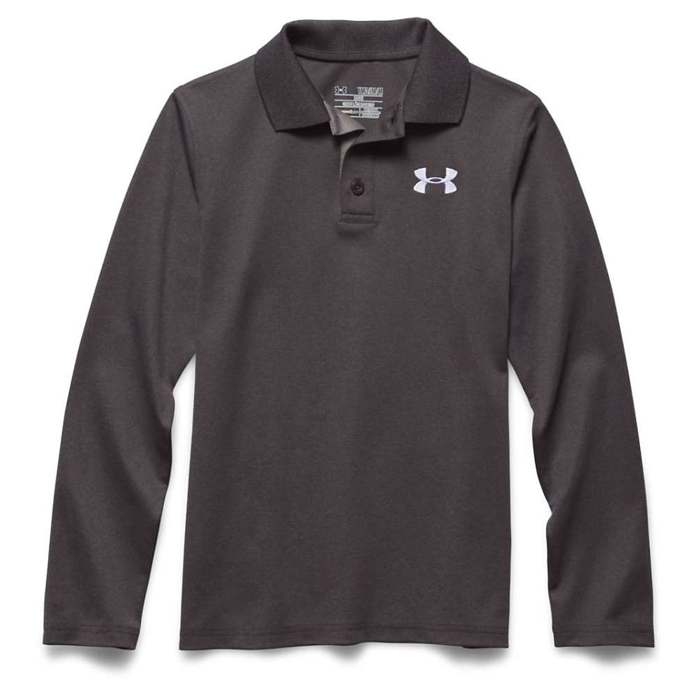 Under Armour Boys' UA Match Play LS Polo Shirt - XS - Carbon Heather / True Gray Heather / White