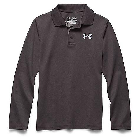 Under Armour Boys' UA Match Play LS Polo Shirt Carbon Heather / True Gray Heather / White