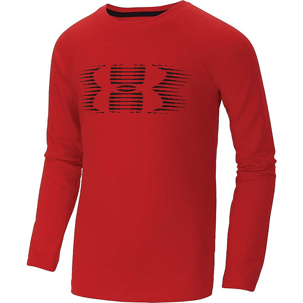 Under Armour Boys' Waffle Crew Top - Small - Risk Red / Black