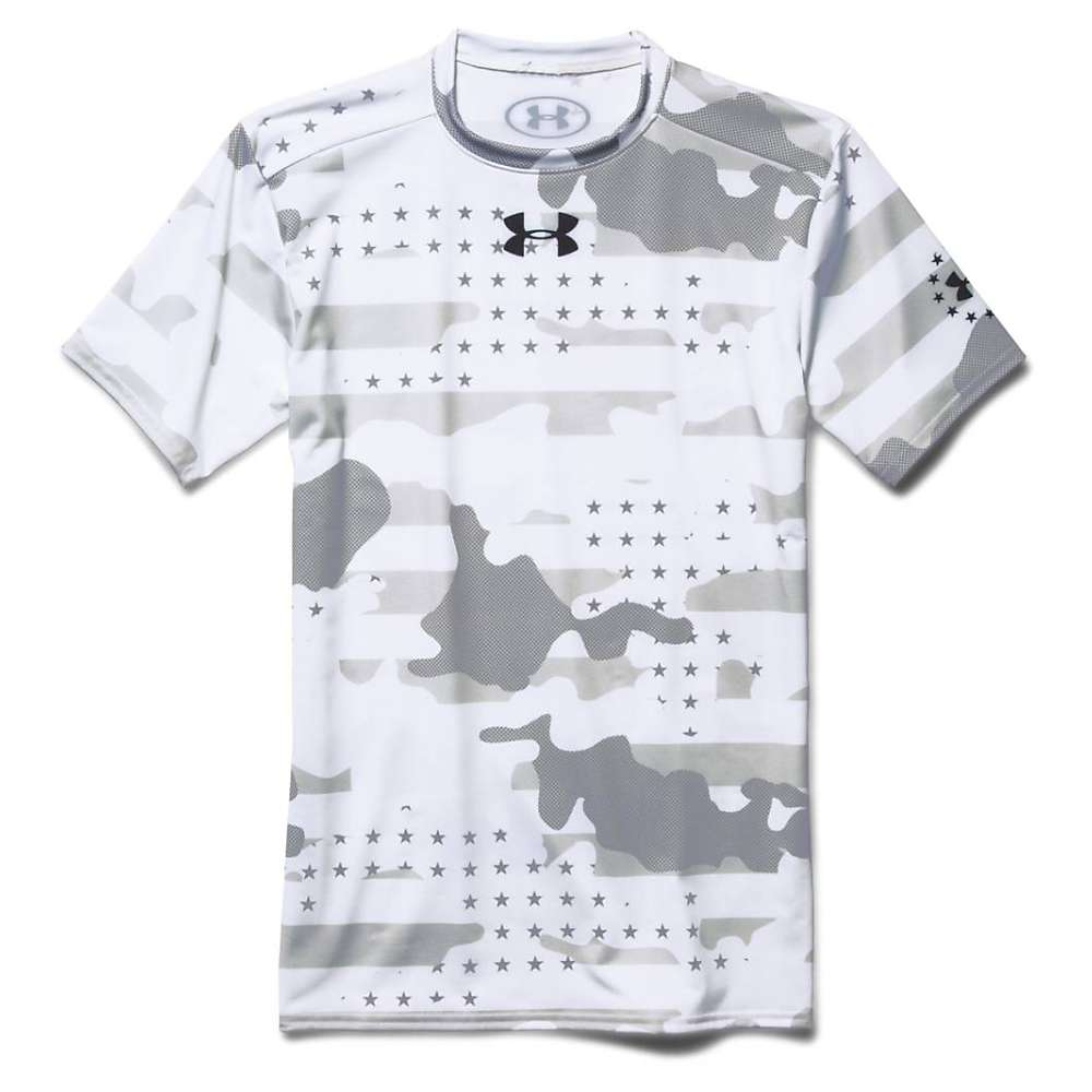 Under Armour Men's Camo 2.0 Compression SS Top - Large - White / Black