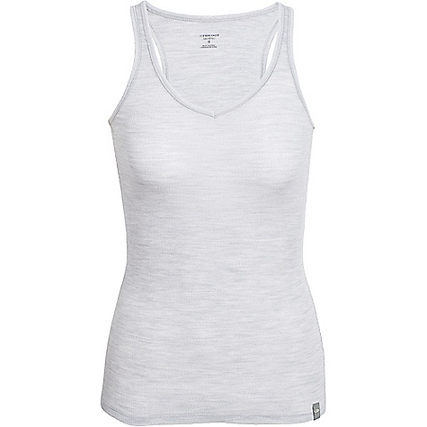 Icebreaker Women's Butter Rib Racerback Tank Blizzard Heather