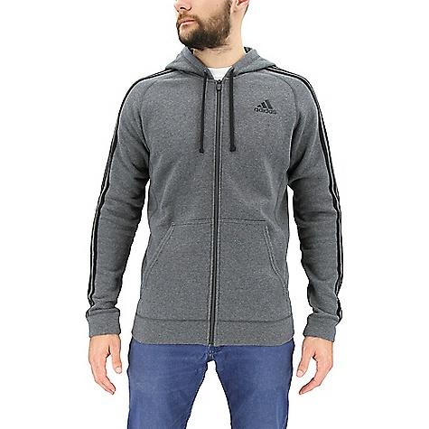 Adidas Men's Essential Cotton Fleece Full Zip Hoody Dark Grey Heather / Black