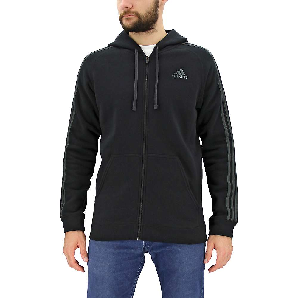 Adidas Men's Essential Cotton Fleece Full Zip Hoody - Large - Black / Dgh Solid Grey