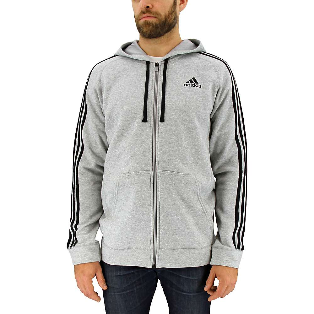 Adidas Men's Essential Cotton Fleece Full Zip Hoody - Large - Med Grey Heather / Black
