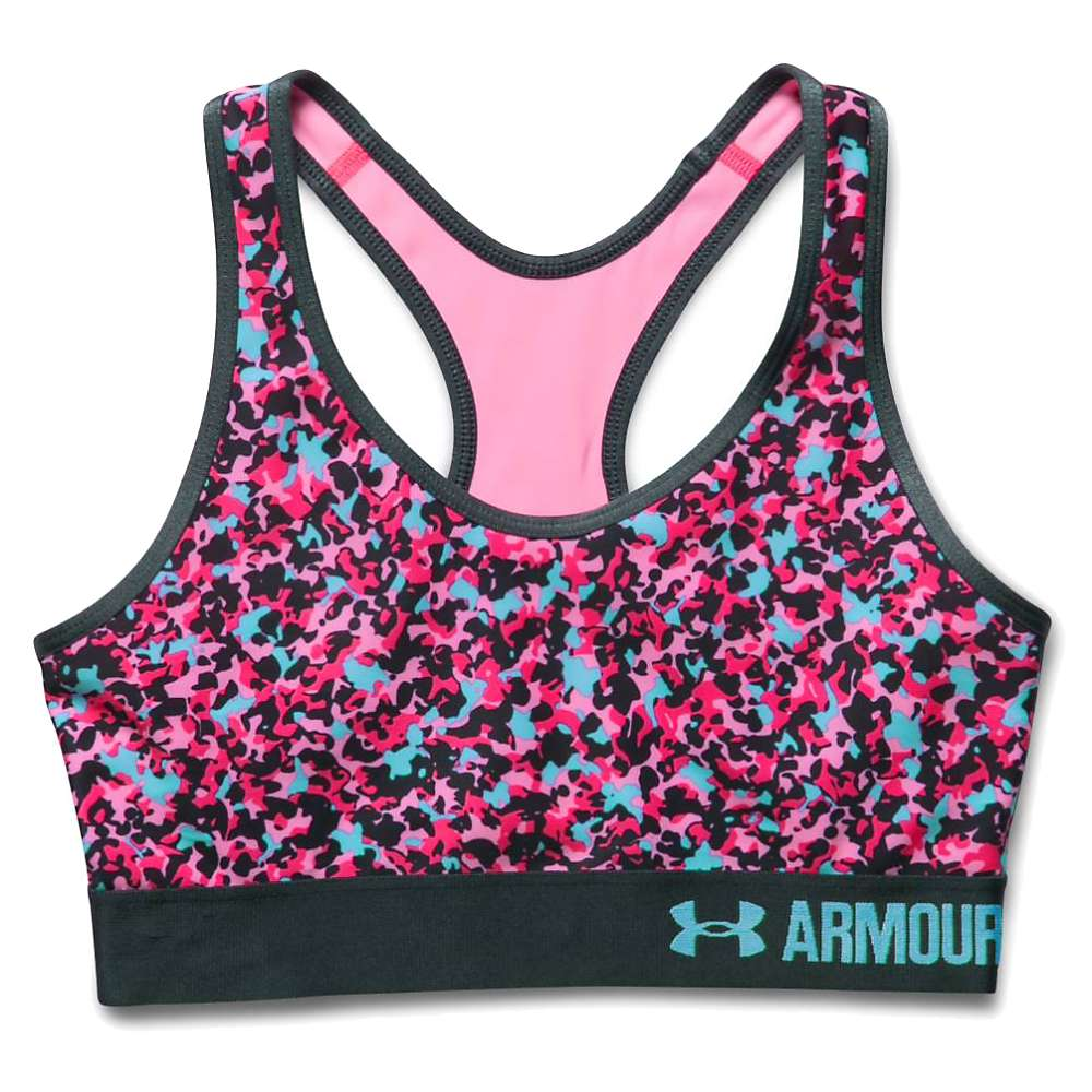 Under Armour Women's UA Armour Mid Printed Bra - Large - Pink Craze / Harmony Red Print
