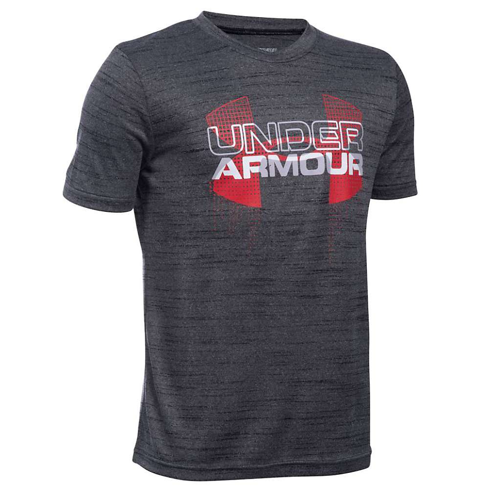 Under Armour Boys' Big Logo Hybrid SS Tee - Small - Black / Red / White