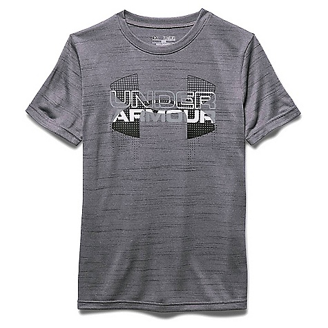 Under Armour Boys' Big Logo Hybrid SS Tee Graphite / Black / White