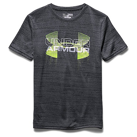 Under Armour Boys' Big Logo Hybrid SS Tee Black / Fuel Green / White