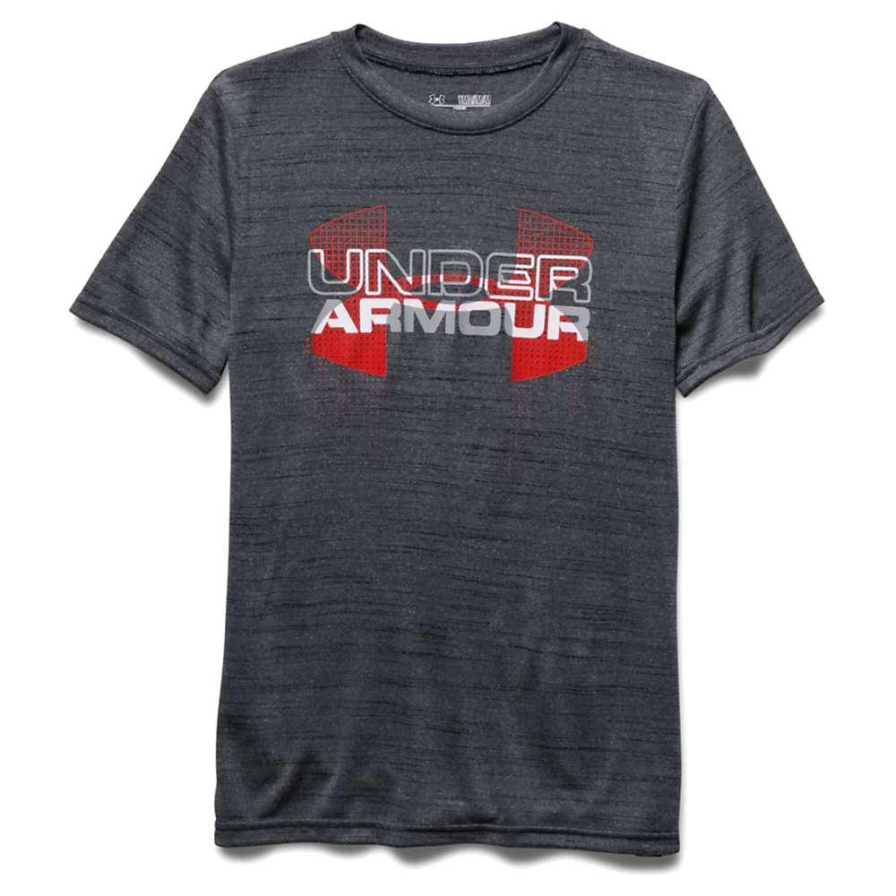 Under Armour Boys' Big Logo Hybrid SS Tee - Medium - Black / Risk Red / Overcast Gray