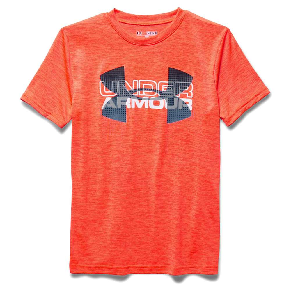 Under Armour Boys' Big Logo Hybrid SS Tee - Large - Bolt Orange / Slate Blue / White