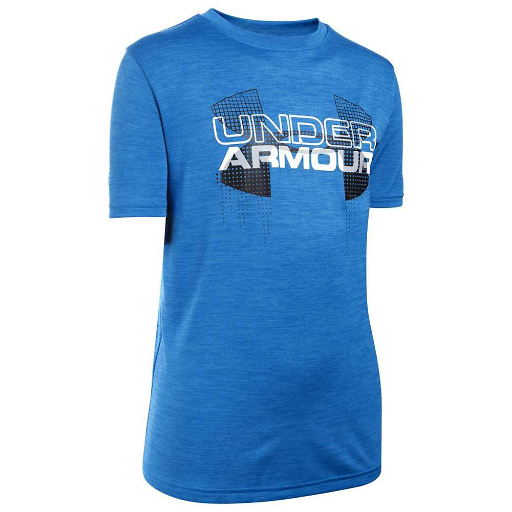Under Armour Boys' Big Logo Hybrid SS Tee - Medium - Ultra Blue / Black / White
