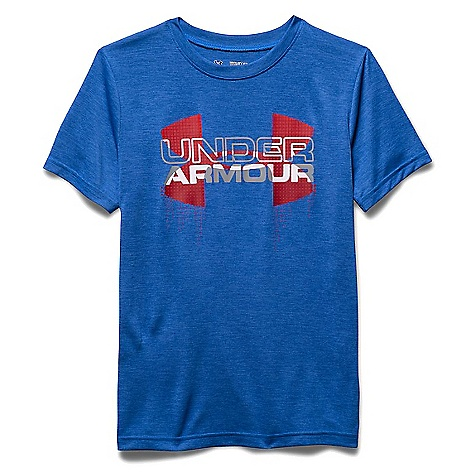 Under Armour Boys' Big Logo Hybrid SS Tee Ultra Blue / Risk Red / Overcast Gray