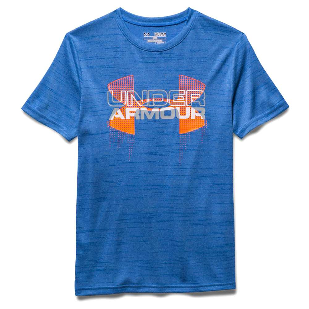 Under Armour Boys' Big Logo Hybrid SS Tee - XL - Ultra Blue / Traffic Cone Orange / Overcast Gray