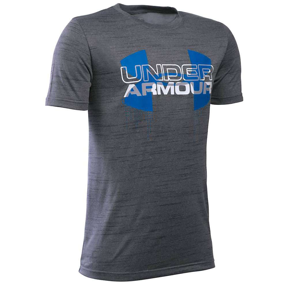 Under Armour Boys' Big Logo Hybrid SS Tee - Medium - Graphite / Ultra Blue / White