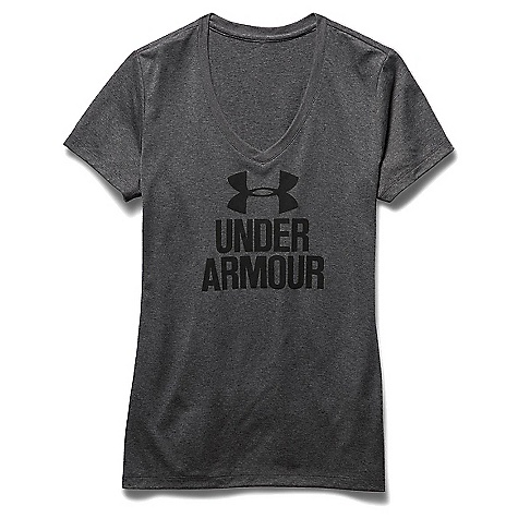 Under Armour Women's Graphic Tech V Neck Tee Carbon Heather / Black