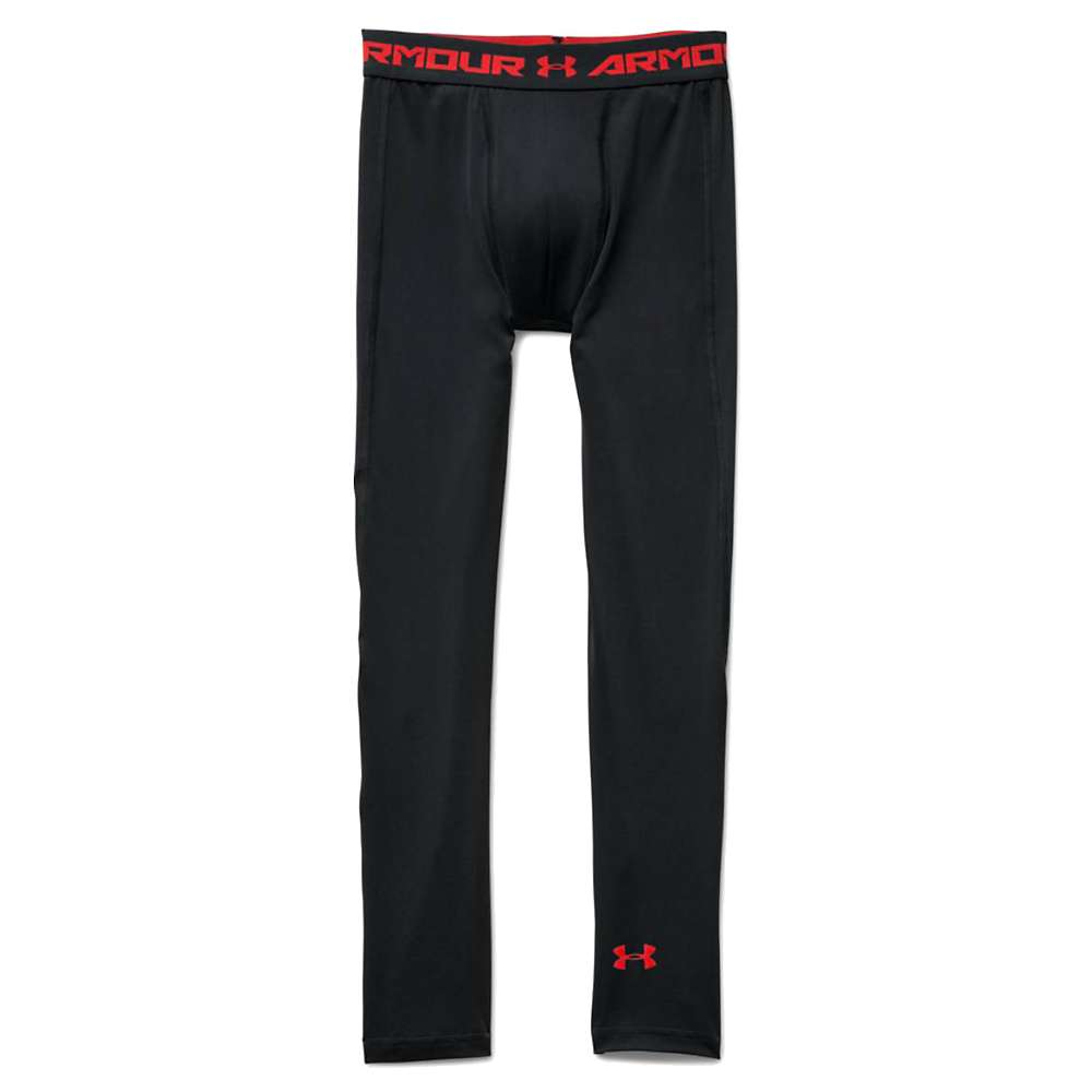 Under Armour Boys' Heatgear Armour Up Fitted Legging - Medium - Black / Black / Risk Red