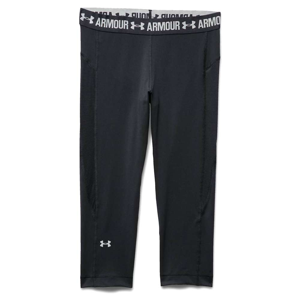 Under Armour Women's Heatgear Coolswitch Capri - Large - Black / Black / Metallic Silver