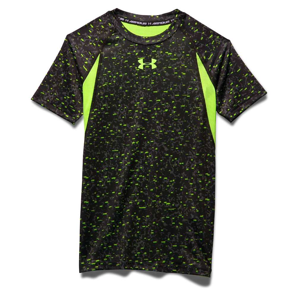 Under Armour Boys' Heatgear Armour UP Printed SS Fitted T Shirt - Medium - Graphite / Fuel Green / Fuel Green
