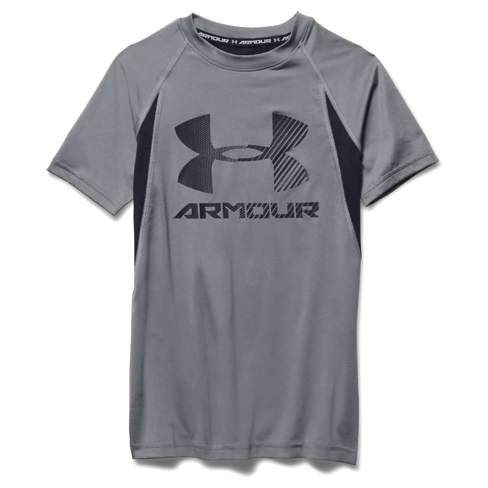 Under Armour Boys' Heatgear Armour Up Digi SS Fitted T Shirt - Large - Graphite / Black / Black