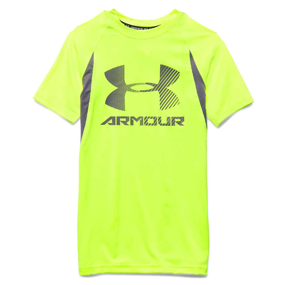 Under Armour Boys' Heatgear Armour Up Digi SS Fitted T Shirt - Small - Fuel Green / Graphite / Graphite