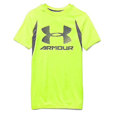 Under Armour Boys' Heatgear Armour Up Digi SS Fitted T Shirt Fuel Green / Graphite / Graphite