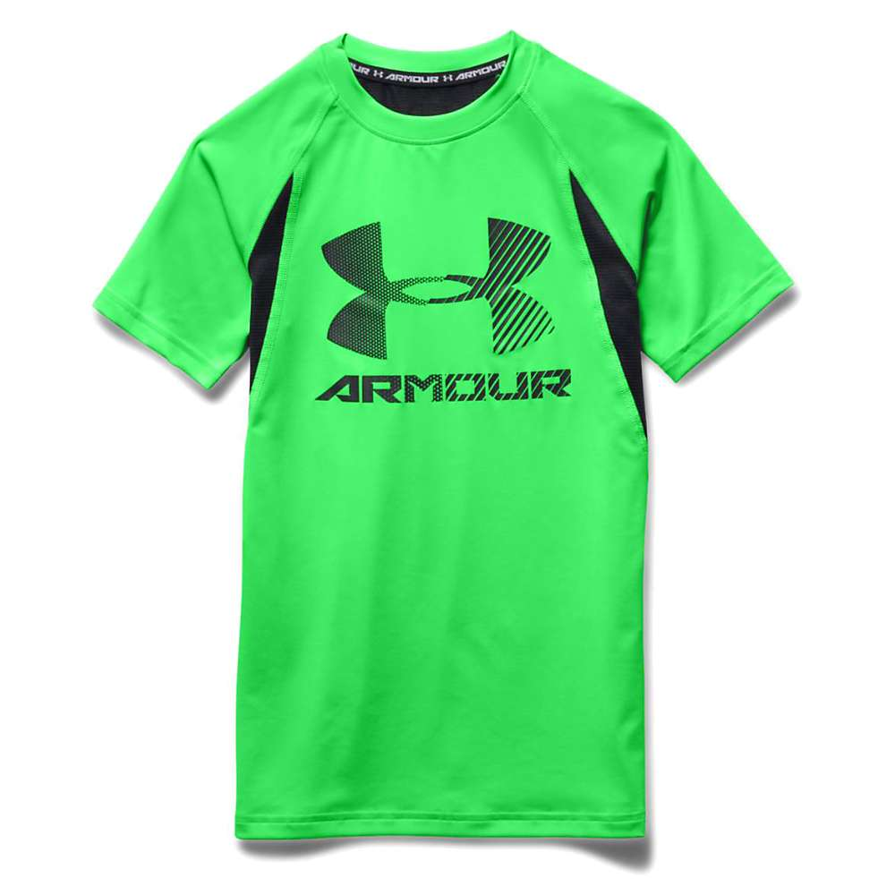 Under Armour Boys' Heatgear Armour Up Digi SS Fitted T Shirt - XL - Laser Green / Black / Black