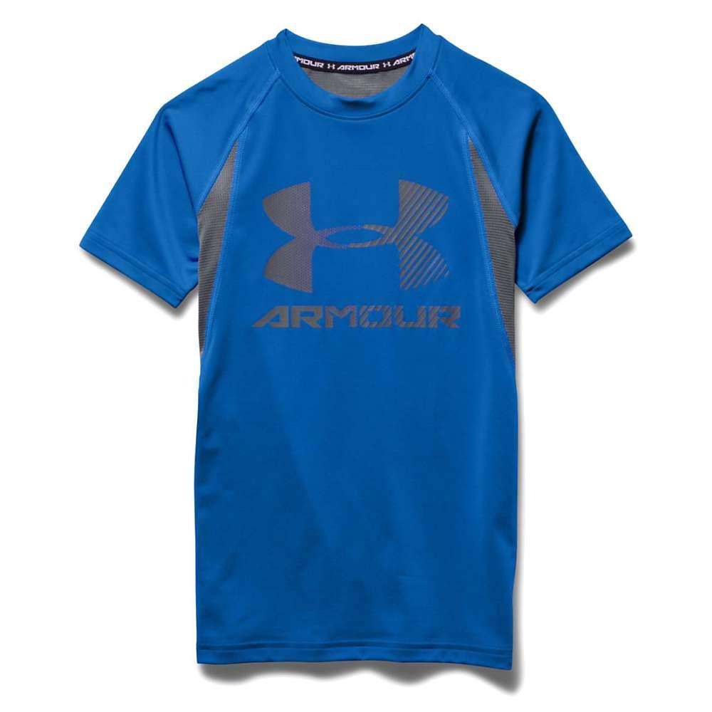Under Armour Boys' Heatgear Armour Up Digi SS Fitted T Shirt - Medium - Ultra Blue / Graphite / Graphite