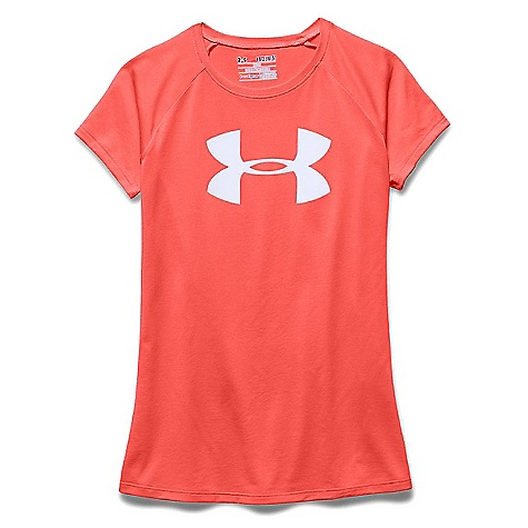 Under Armour Girls' Solid Big Logo Tech SS Tee After Burn / White