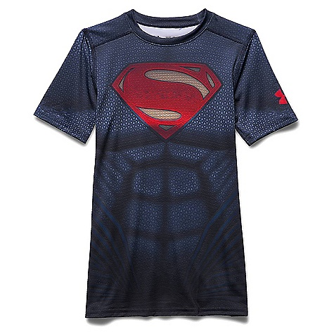 Under Armour Boys' Superman SS Suit Midnight Navy / Risk Red
