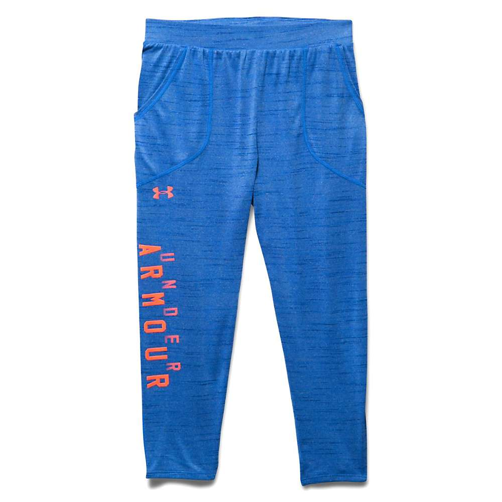 Under Armour Girls' Tech Capri - Medium - Ultra Blue / After Burn / After Burn