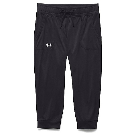 Under Armour Women's Tech Solid Capri Black / Metallic Silver