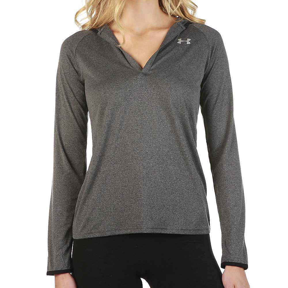 Under Armour Women's Tech LS Hoody - XS - Carbon Heather / Black / Metallic Silver