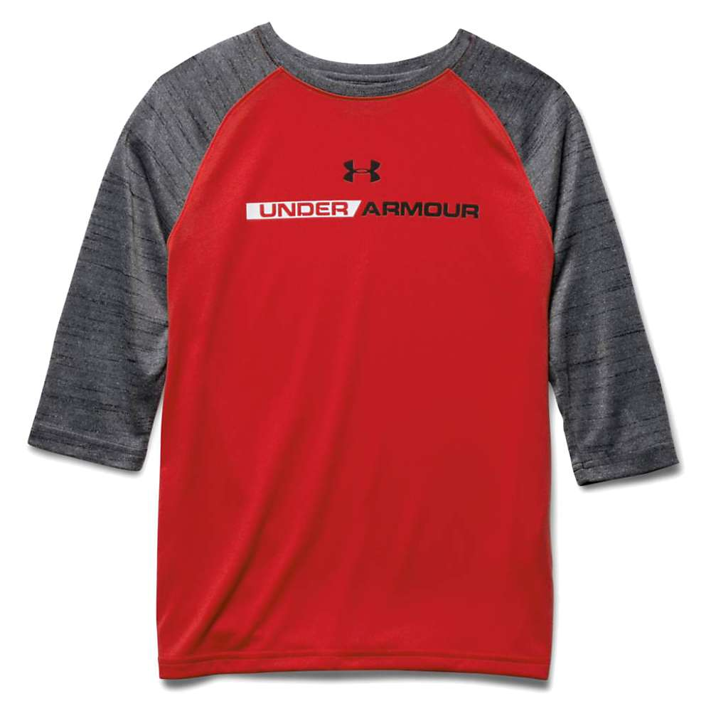 Under Armour Boys' Tech Prototype 3/4 Sleeve Top - Large - Risk Red / Black / Black