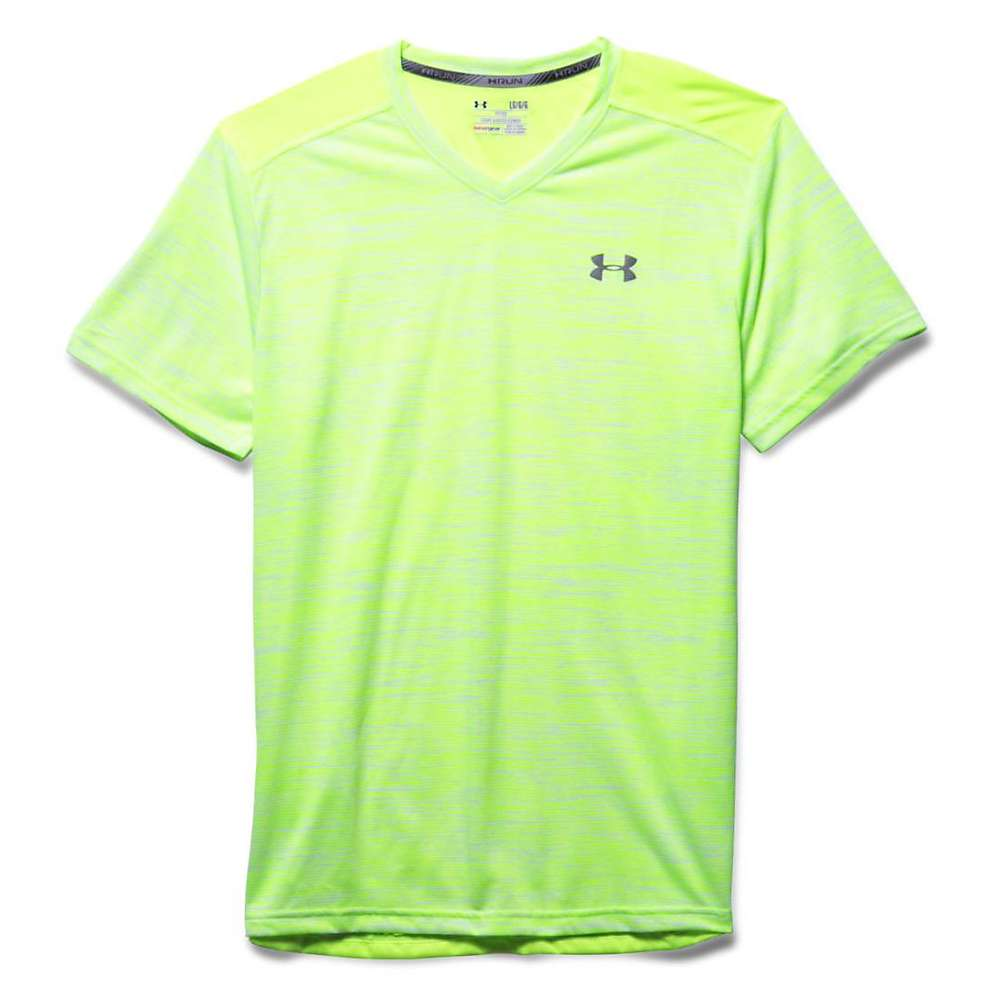 Under Armour Men's Streaker Printed V Neck SS Tee - Medium - Fuel Green / Reflective