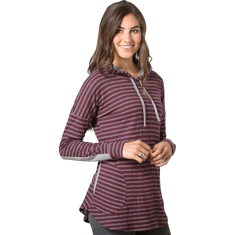 Toad & Co Women's Profundo Hooded Tunic - Large - Vino Stripe / Heather Grey
