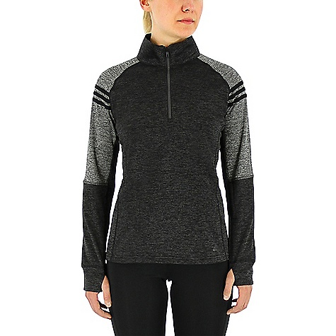 Adidas Women's Team Issue Fleece 1/4 Zip Pullover Black / Dark Grey Heather