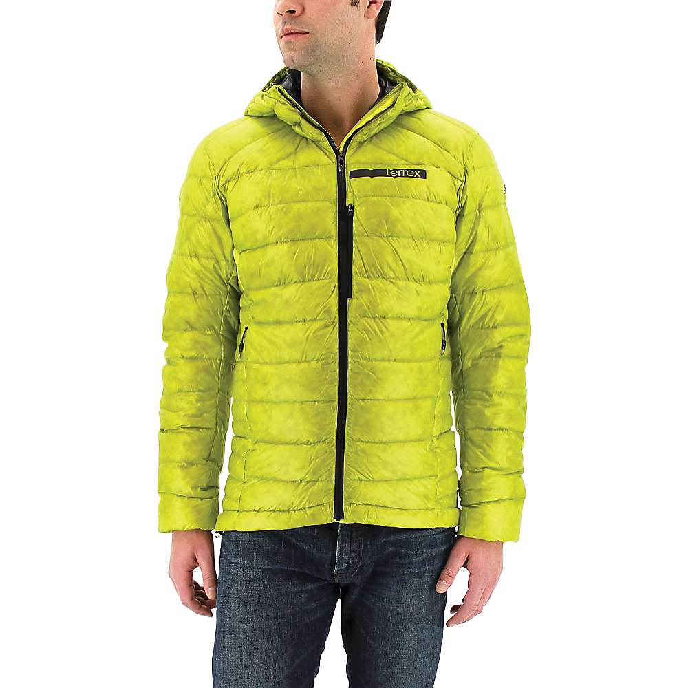 Adidas Men's Terrex Climaheat Agravic Down Hooded Jacket - Large - Unity Lime / Utility Black