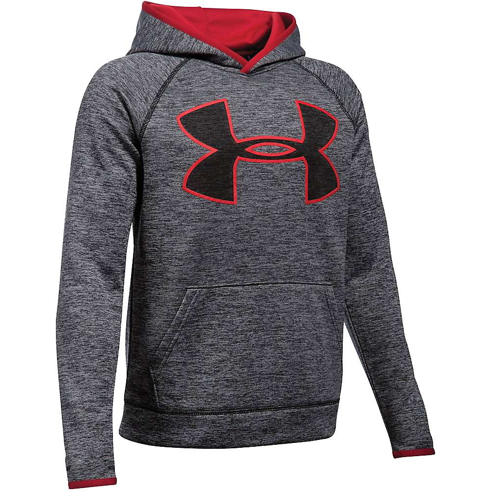 Under Armour Boys' UA Armour Fleece Storm Twist Highlight Hoodie - XS - Black / Red / Black