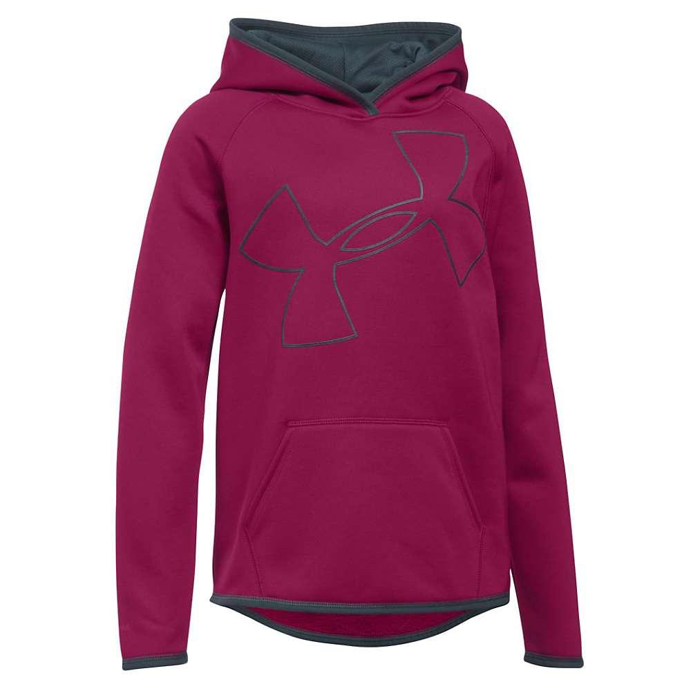Under Armour Girl's Armour Fleece Big Logo Hoody - XL - Black Cherry / Stealth Grey